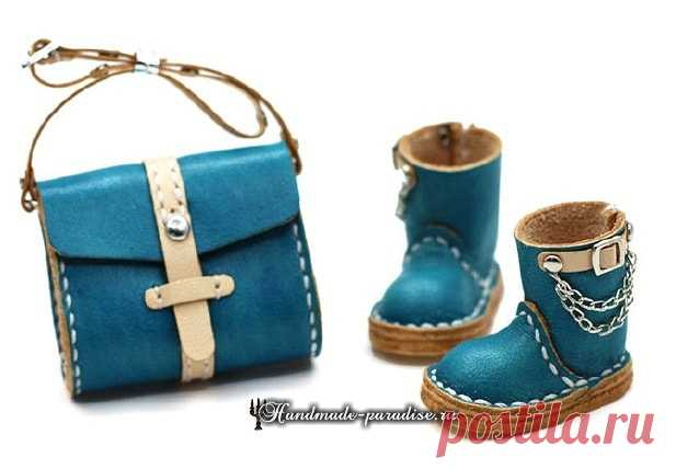 Footwear and bags from skin for dolls. Templates