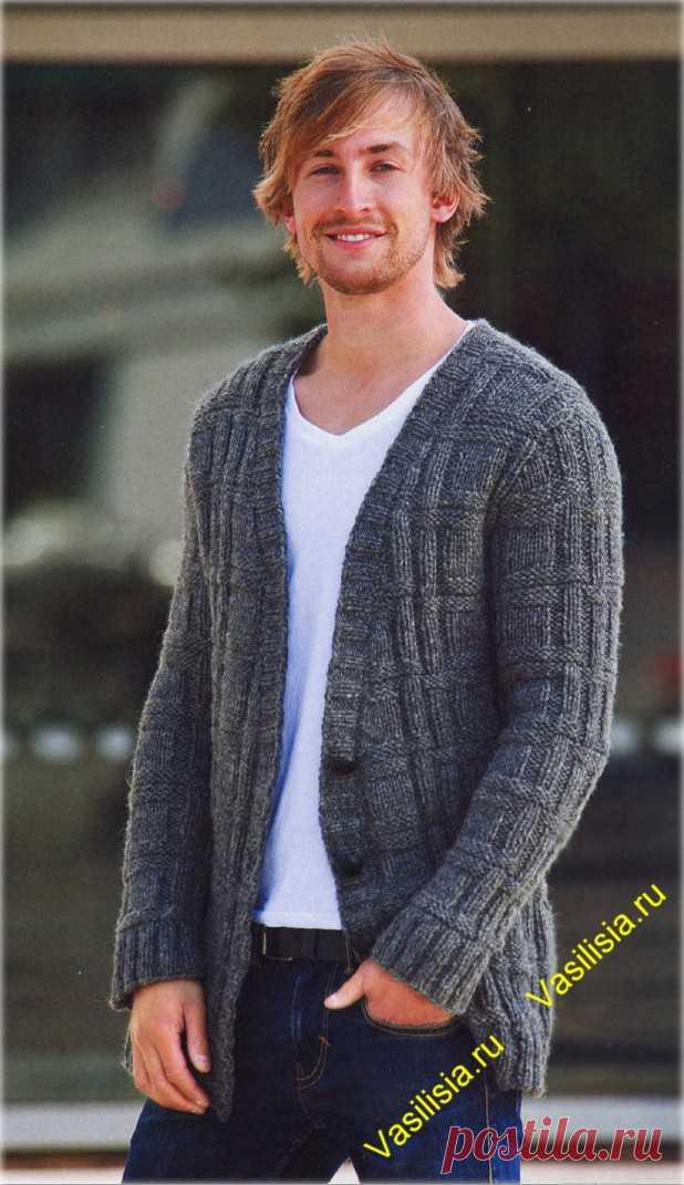 серый мужской кардиган спицами вязание спицами и крючком вязание