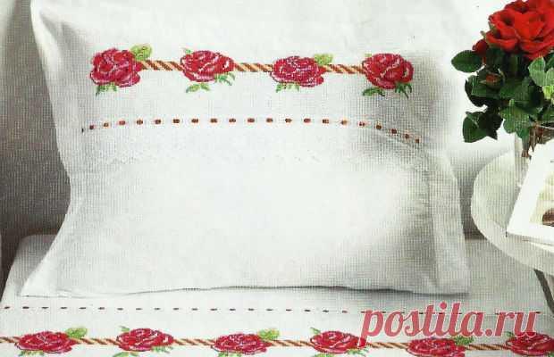 Схема для вышивки крестом: розы на постели