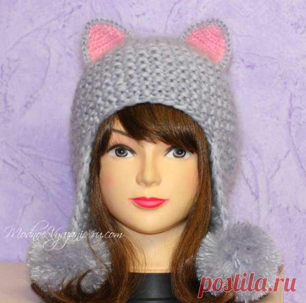 Шапочка *Кошка* для девочек спицами - Modnoe Vyazanie ru.com