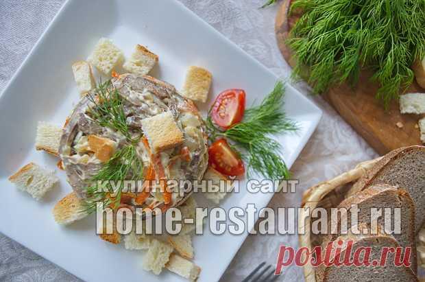 Салат обжорка классический рецепт с с печенью слоями рецепт с