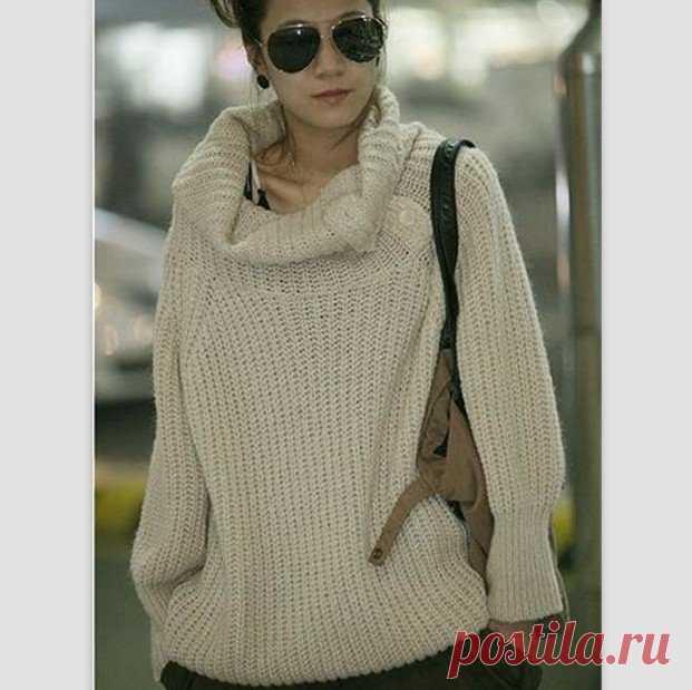 b36917489c5 Белый свитер крупной вязки  вяжем спицами мужской и женский свитер ...