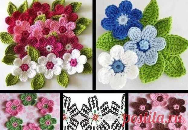 Flowers knitted a hook with schemes and the description Knitted a hook flowers can be both small, and big
