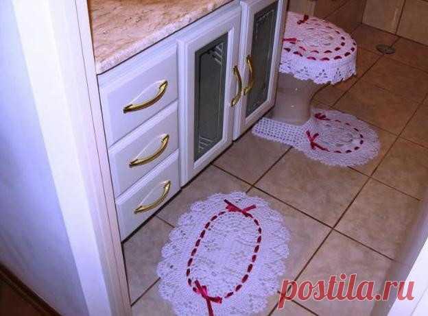 комплект в ванную комнату крючком вязание крючком для ванной