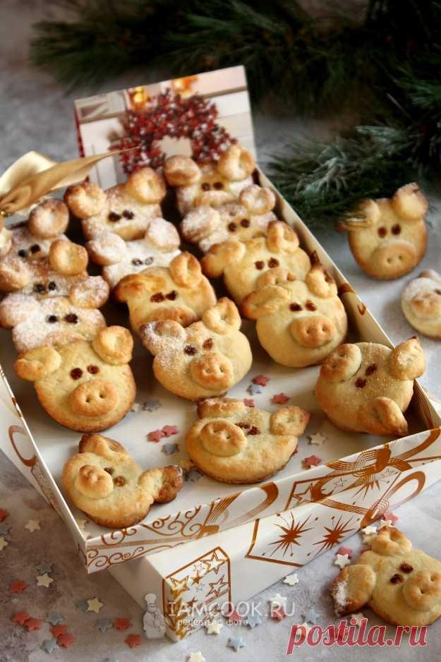 Новогоднее песочное печенье Свинки — рецепт с фото пошагово
