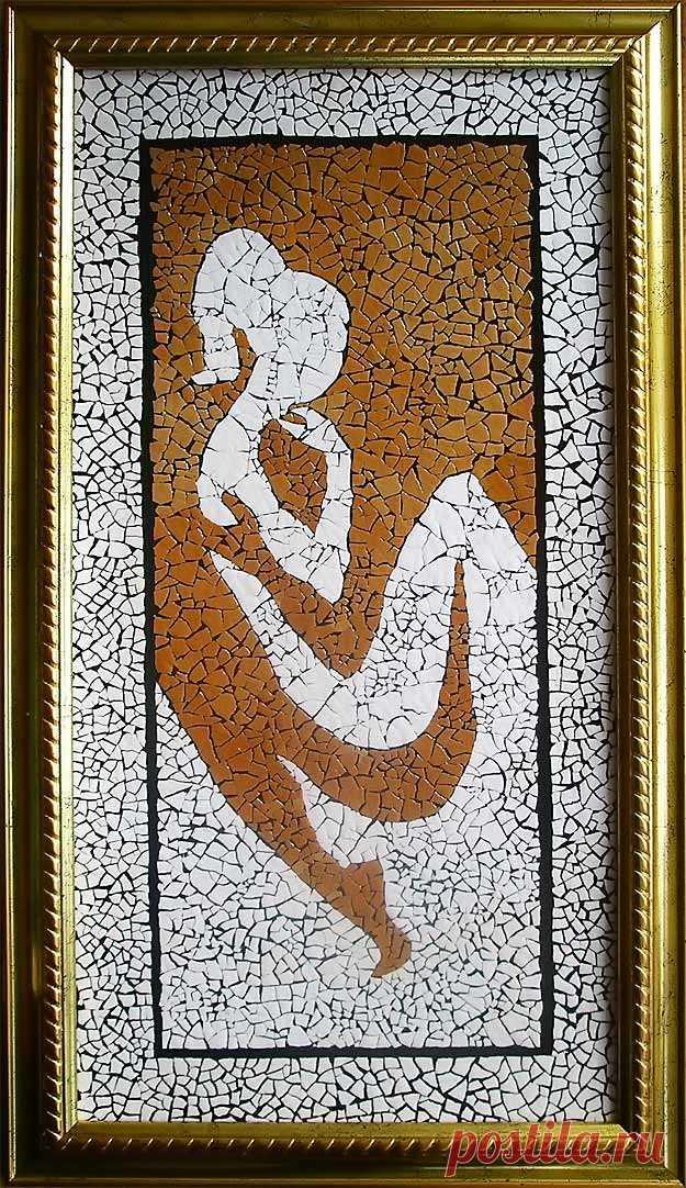 Картина из яичной скорлупы (некрашеной) — мозаика Влюбленные | Идеи для творчества, рукоделие