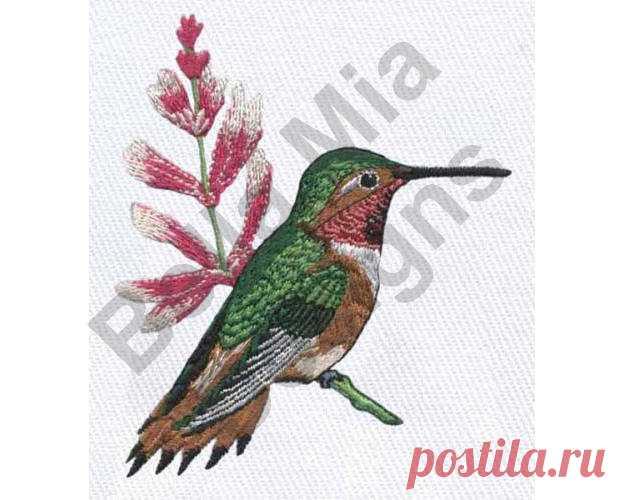 Aves colibrí de diseño pájaro verde bordado máquina | BORDADO A ...