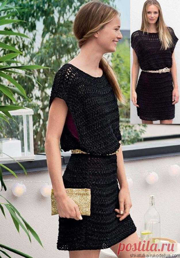 Летнее платье-туника ажурным узором. Черное ажурное платье из прямоугольников | Шкатулка рукоделия