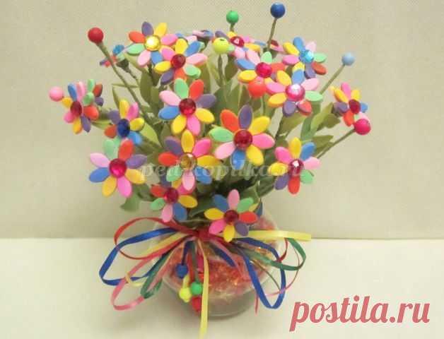 Букет цветов из резинок для волос своими руками. Мастер-класс с пошаговыми фото