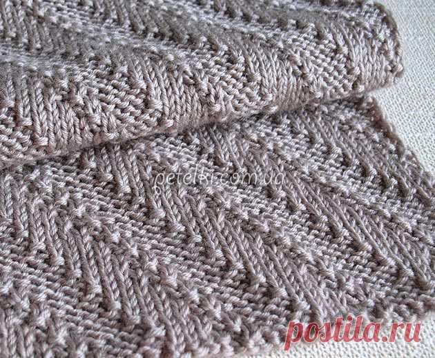 """Двусторонний шарф """"Диагонали"""". Схема и описание вязания"""