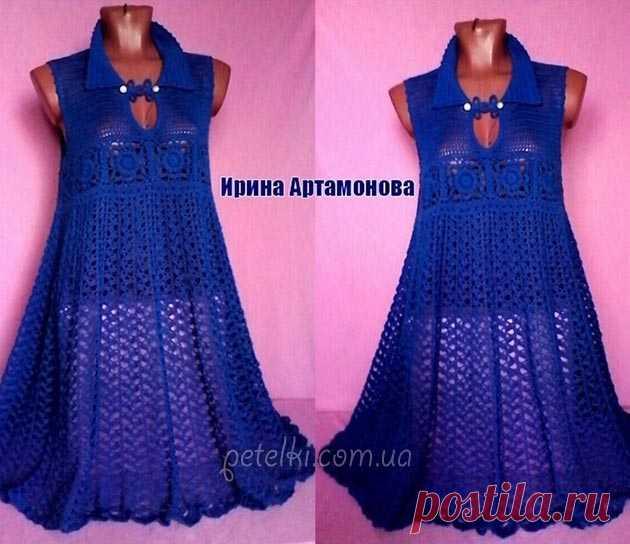 Роскошное платье Ирины Артамоновой. Схемы Красивое платье цвета ультрамарин от мастерицы Ирины Артамоновой. Платье связано крючком, а его изюминка - это пикантный воротничок. Платье получилось необычным и очень интересным. Схемы