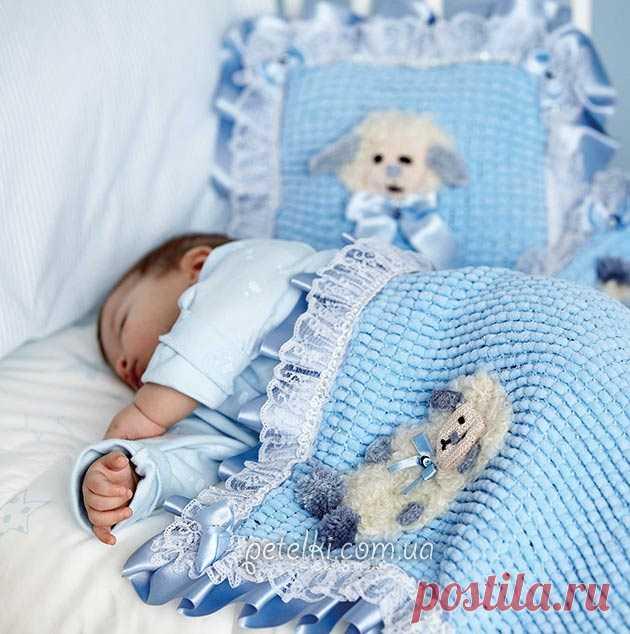детский плед и подушка из помпонной пряжи описание вязания