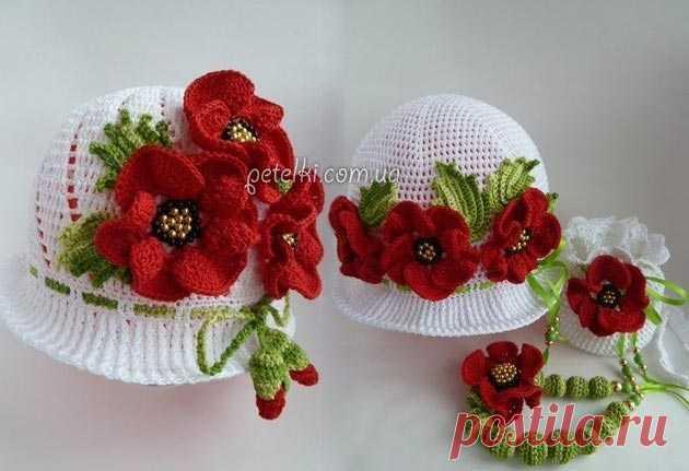 Красивая шляпа-панама с цветами. Как вязать Шикарная летняя панама в виде шляпки, связанная крючком. Изюминки ей придает отделка из цветов и листочков.  Схема вязания шляпы-панамы:  banner_adaptivniy  Описание и схема цветка: Вступайте в наши группы - там еще больше