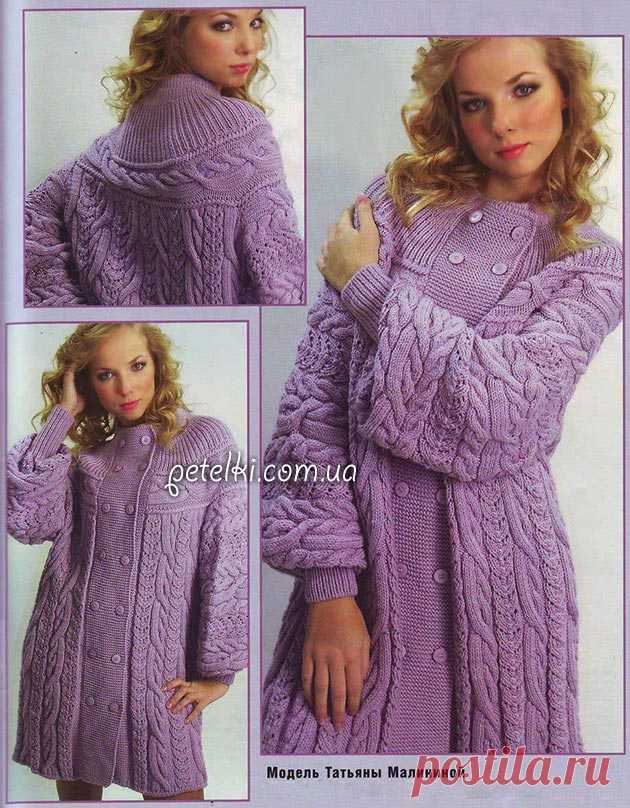 Coat spokes with the round coquette. Description of knitting, scheme