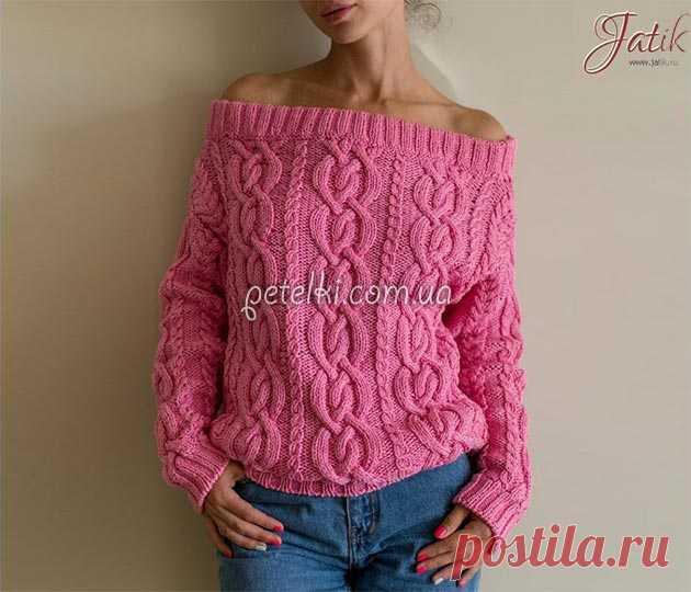 пуловер с открытыми плечами схемы выкройка вязание кофта
