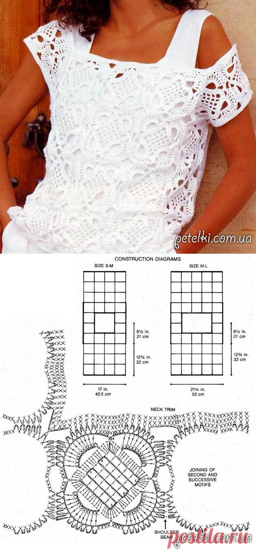 Beautiful snow-white top hook. Schemes, pattern