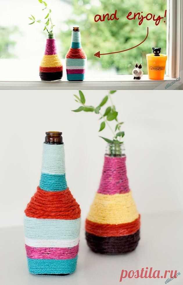 Декоративное украшение бутылок цветными нитками | Отлично! Школа моды, декора и актуального рукоделия