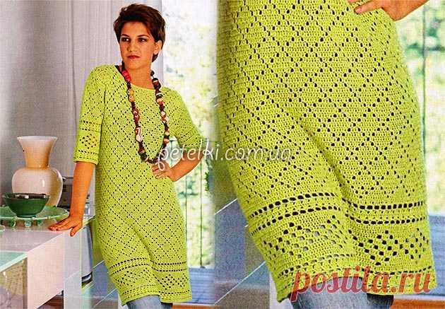 Fillet dress with a border. Schemes, description