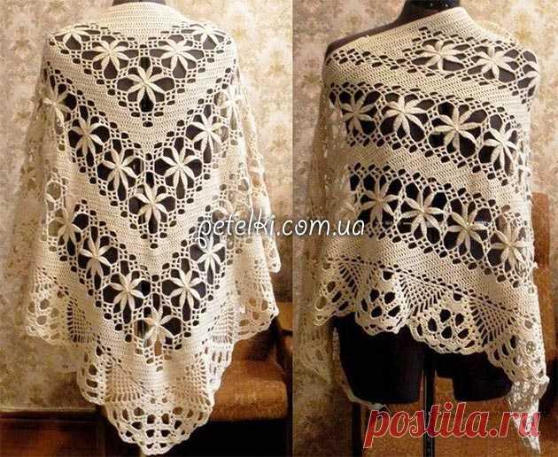 необычная шаль крючком схема вязание шали палантины шарфы