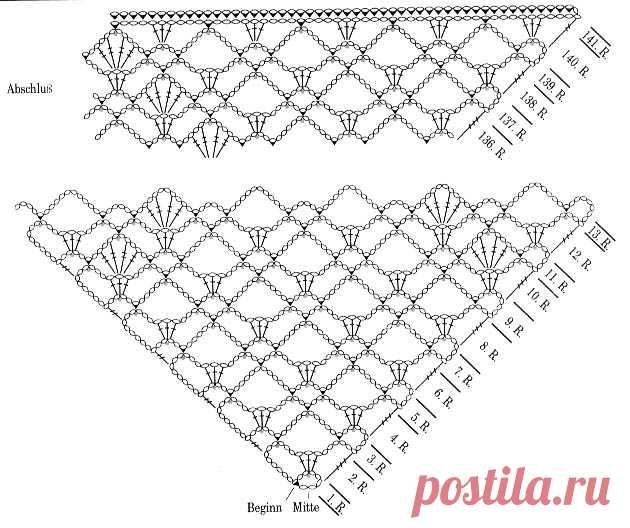 вязание шали крючком для начинающих схемы Ls шали постила