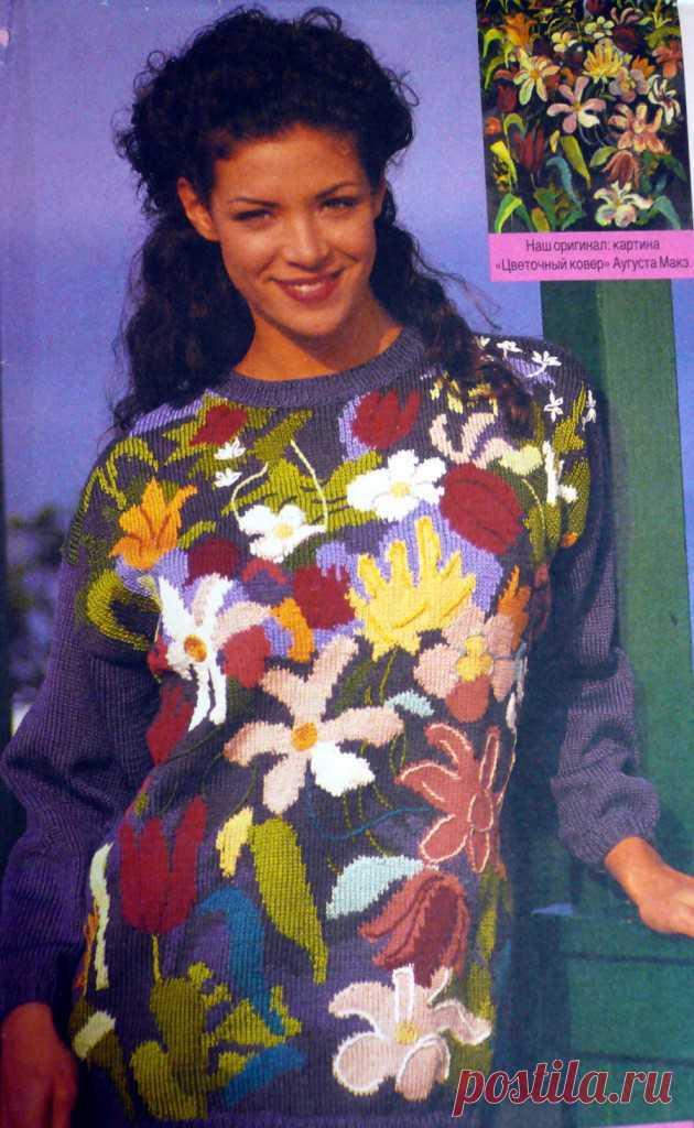 Пуловер спицами с цветами   петелики