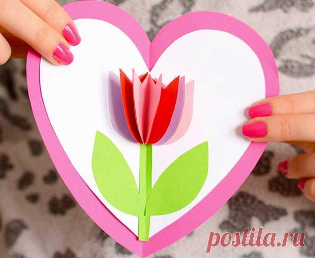 Открытка сердце сделанное из цветов строители, это