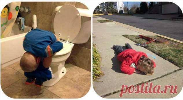 Родительский стыд 80-го уровня: смешные фотографии детей, заснувших внеподходящий момент . Милая Я