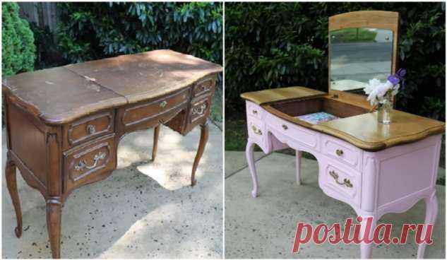Блогер приобрела потрепанный туалетный столик всего за 10 дол. и сделала из него стильный предмет мебели . Милая Я