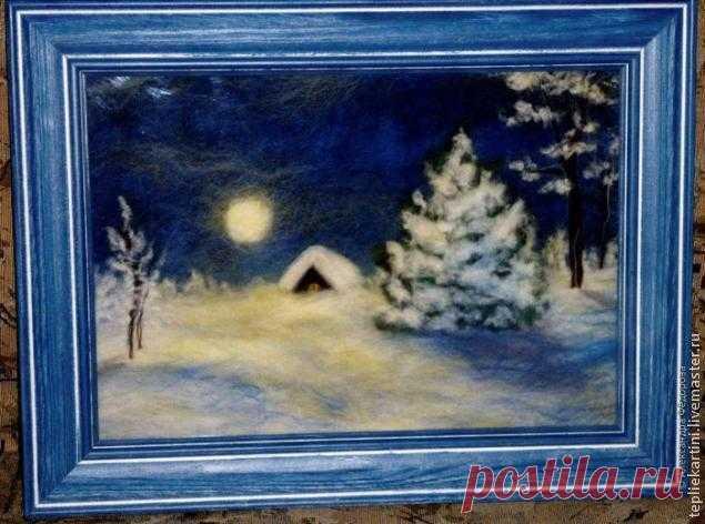 Рисуем шерстью картину «Зимняя ночь»