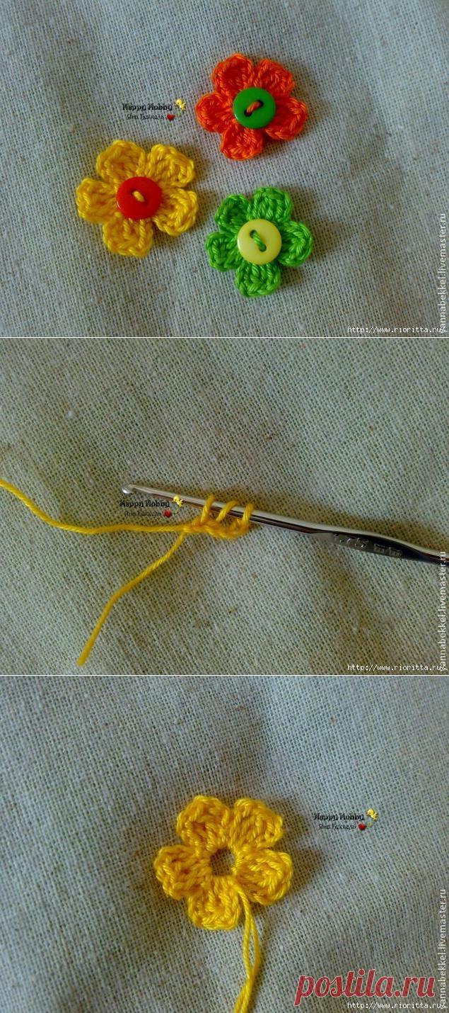 вяжем цветок крючком