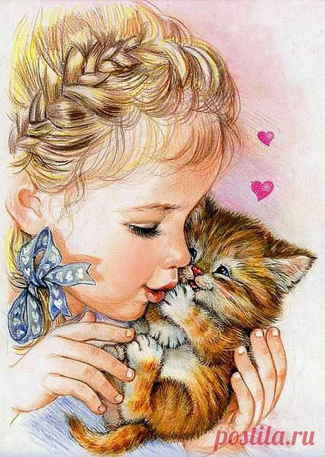 Люблю мамочке, картинки девочка и котик рисованные