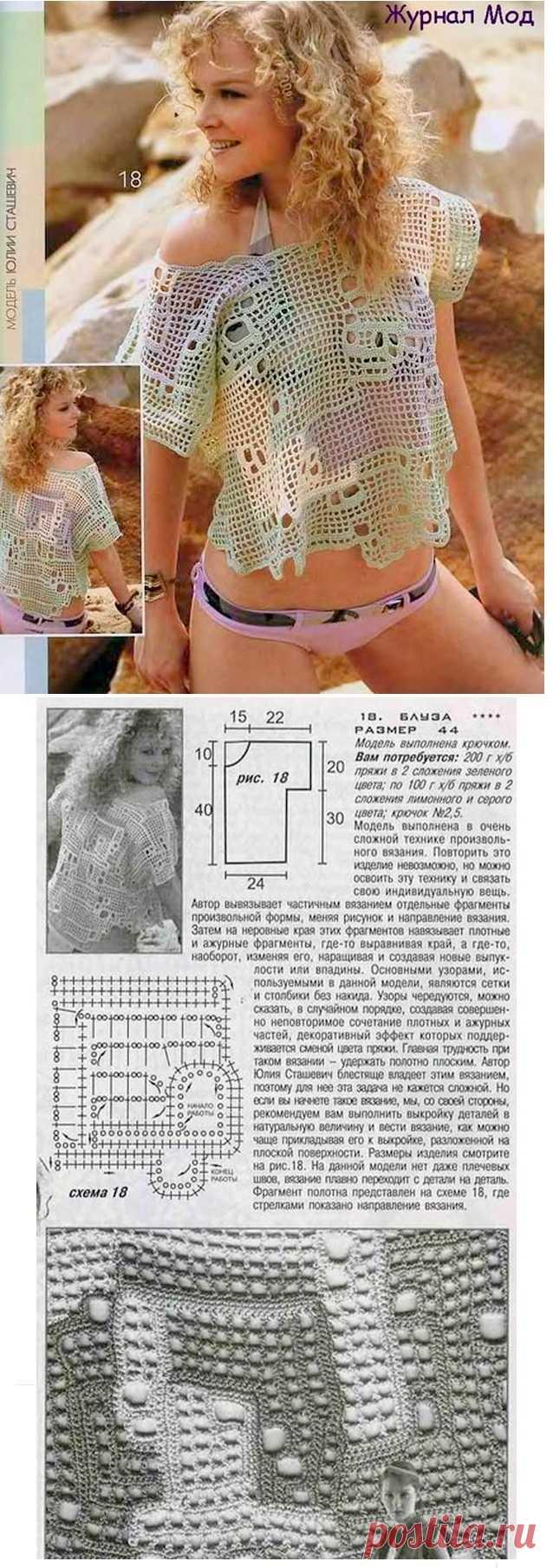 Ажурная блузка крючком в технике произвольного вязания | Дневник Иримед