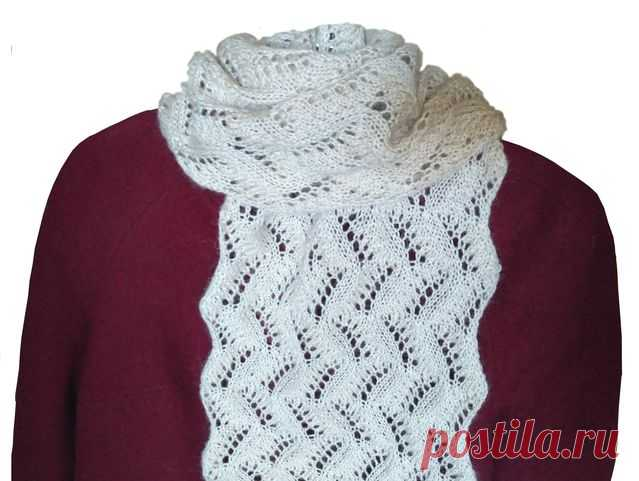 как связать женский ажурный шарф узоры вязания спицами видео