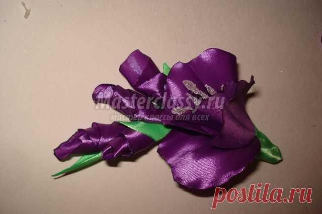 Цветы из лент своими руками. Гладиолус волнистый. Мастер класс с пошаговыми фото