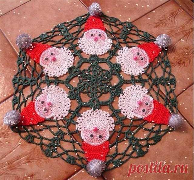 Салфетка новогодняя Салфетка к новому году Как связать новогоднюю салфетку