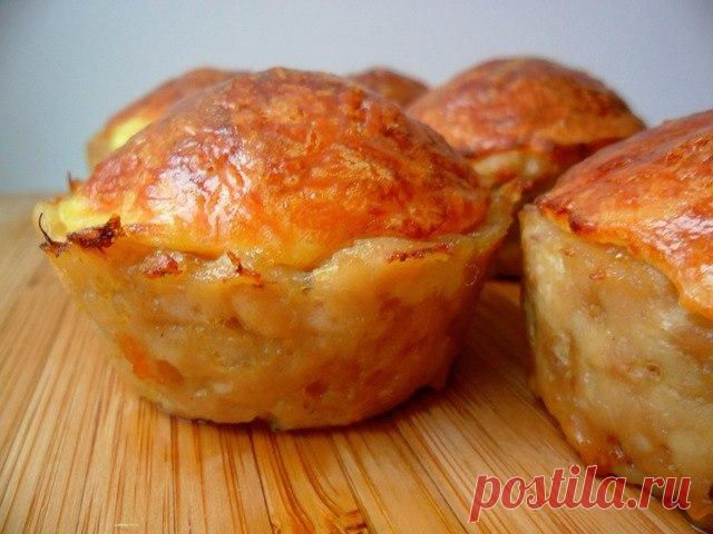 Низкокалорийный перекус - куриные кексы с сырной начинкой (без муки)