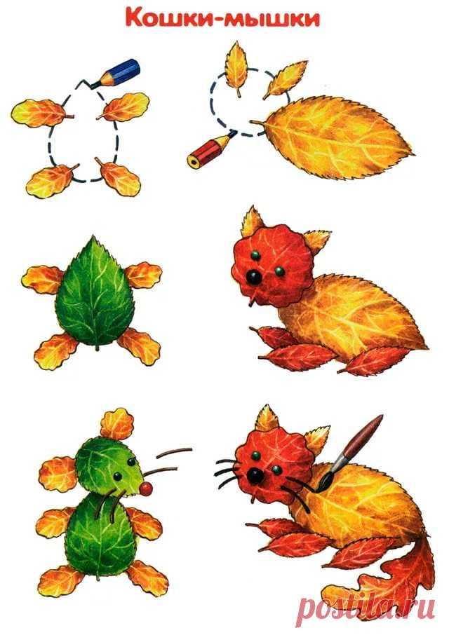 Картинки из осенних листьев своими руками для детей, открытка днем