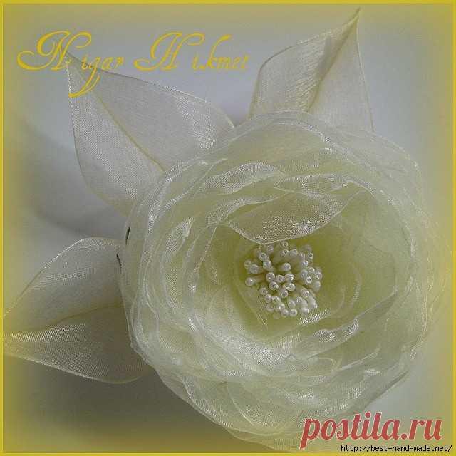 Необыкновенной красоты цветы из ткани и лент от Nigar Hikmet, Турция. Работы, мастер-классы