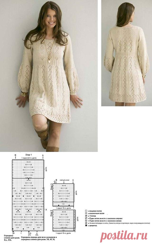 1041023df8d Теплое платье «Нежность в простоте» с длинным рукавом спицами – схемы  вязания с описанием