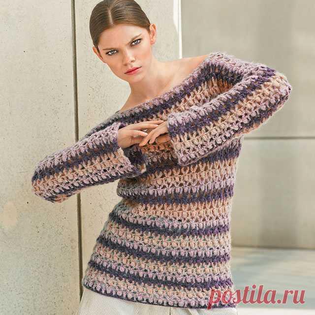 Прямой джемпер в полоску с длинным рукавом крючком – 4 модели со схемами, описанием и видео — Пошивчик одежды