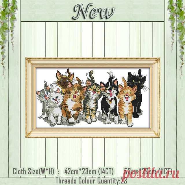 Картина «восемь кошек» для Новорожденных котят, рассчитана на Печатный холст DMC 11CT 14CT, наборы для вышивки крестиком, Набор для вышивки животными|Упаковка| | АлиЭкспресс