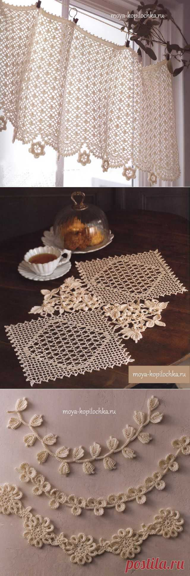 36 options of a vintage decor with elements of the Irish lace - Knitting - my kopilochka