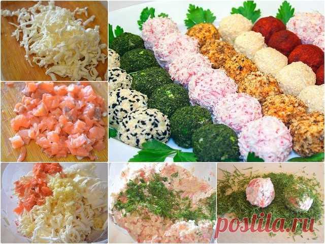 Крабовые шарики Очень вкусная и красивая закуска. Такую закуску можно приготовить как с крабовым мясом, так и с крабовыми палочками. Очень красиво смотрится ассорти, если обвалять такие шарики в укропе, яичном желтке и паприке.  Ингредиенты: - 250 г крабового мяса (креветок или крабовых палочек), - 250 г плавленых сырков, - 100 г копченой или малосоленой красной рыбы, - зелень укропа, - несколько зубчиков чеснока, - майонез.  Приготовление: 1. Натереть плавленый сыр на сре...