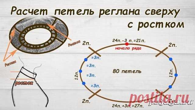 Расчет петель реглана сверху с ростком подробнее: http://prjaga.ru/uroki-vyazaniya/uroki-vyazaniya-spicami/raschet-petel-reglana-sverkhu-s-rostkom