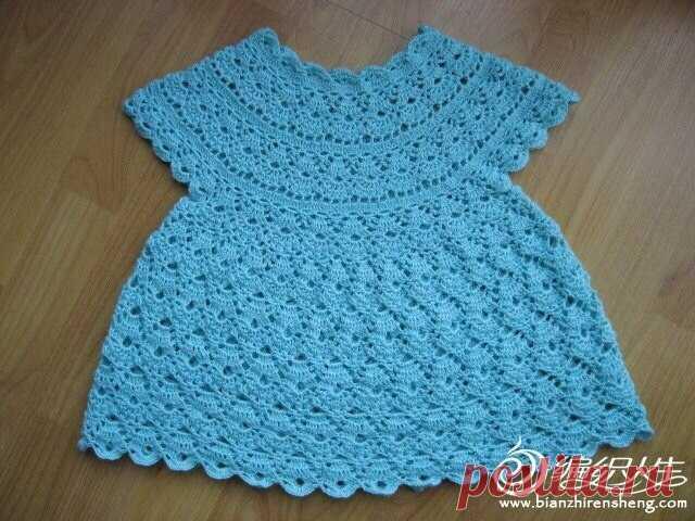 Вяжем платьице для малышки крючком. Платье для девочки ...