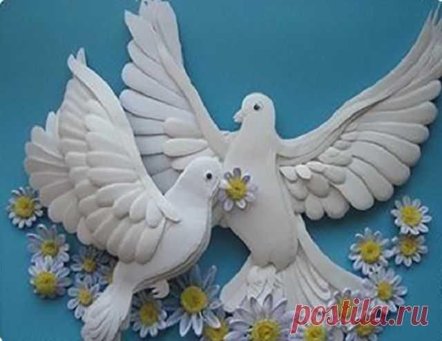 Нарисовать простую, открытки с голубями и цветами своими руками