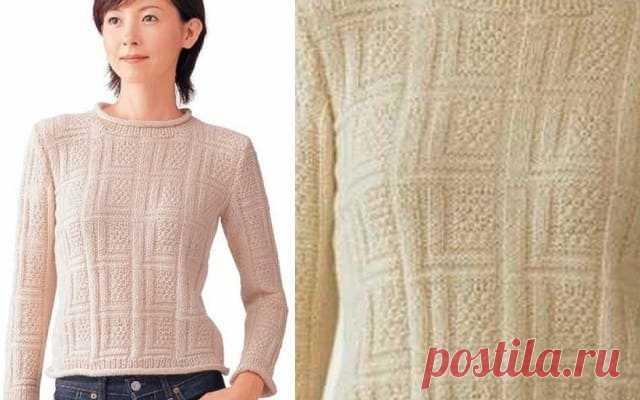 Рельефный узор спицами для вязания пуловера