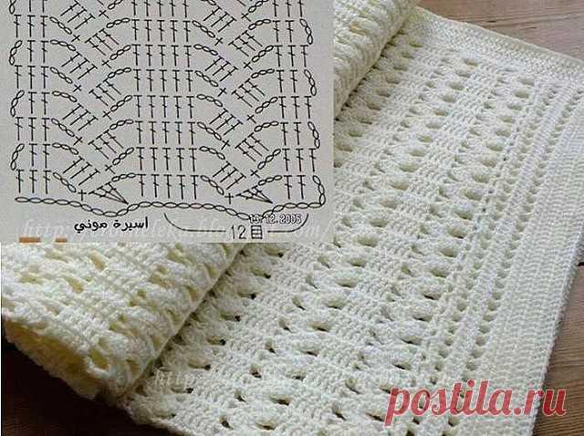 Красивый узор крючком со схемой. Отличный вариант для пледа или шарфа.
