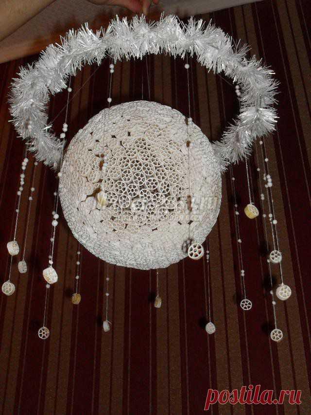 Поделки из макарон. Мобиль – новогодний шар. Мастер класс с пошаговым фото