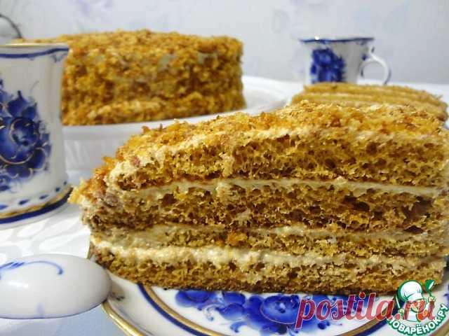 """medovik """"Губка"""" la Torta fantástico, se hace es instantáneo con tierno, poroso como la esponja korzhami y la crema sabrosa."""